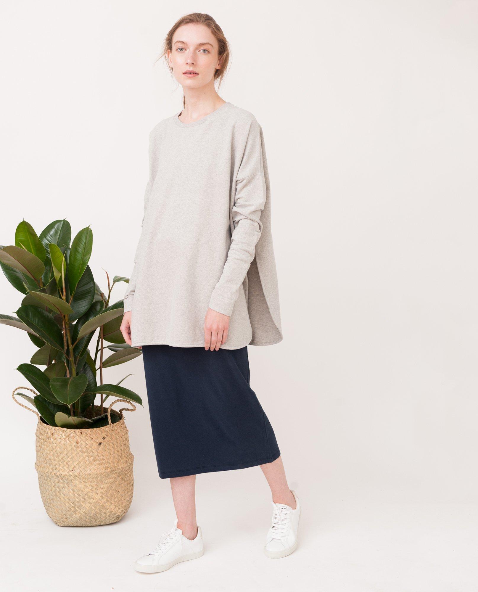 KATE Organic Cotton Sweatshirt In Light Grey from Beaumont Organic