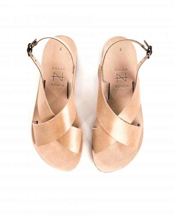 Eco leren sandaal - cross naturel from Brand Mission