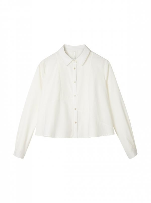 Korte oversizes blouse - wit from Brand Mission