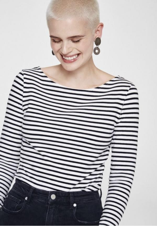 Davina bow stripes top - zwart from Brand Mission
