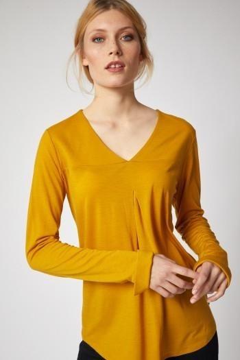 Shirt met plooi - curcuma from Brand Mission