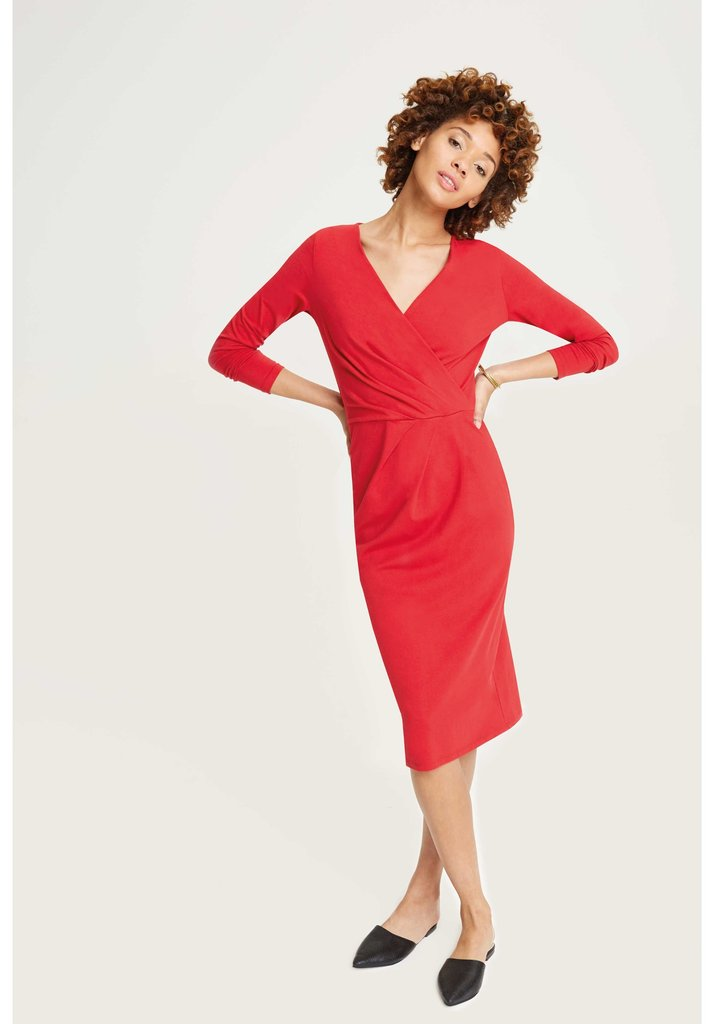 Irene Wrap Dress Red from Charlie + Mary