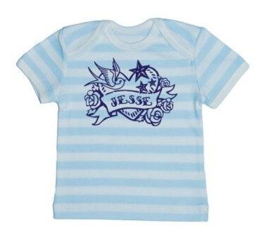 Tattoo Baby Streep T-shirt - Aqua from ChillFish Design