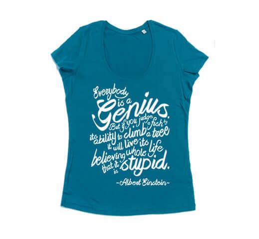 Einstein Fish Quote Dames T-shirt - Aqua Blauw met Witte Print from ChillFish Design