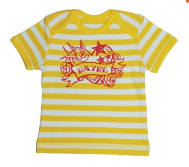 Tattoo Baby Streep T-shirt - Geel from ChillFish Design