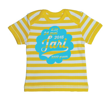 Wolk Baby Streep T-shirt - Geel from ChillFish Design