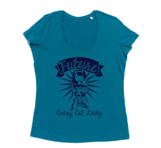 Future Crazy Cat Lady Dames T-shirt - Aqua Blauw from ChillFish Design