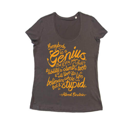 Einstein Fish Quote Dames T-shirt - Antra Grijs met Fluor Oranje Print from ChillFish Design
