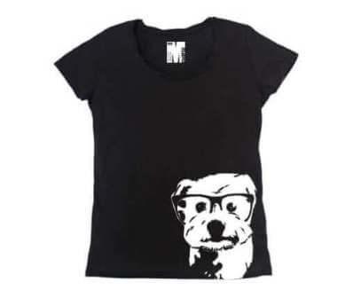 Hondje met Bril Bamboe Dames T-shirt - Zwart from ChillFish Design