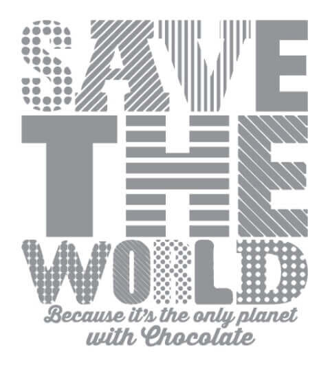 Save the World, Save Chocolate Dames T-shirt - Wit from ChillFish Design