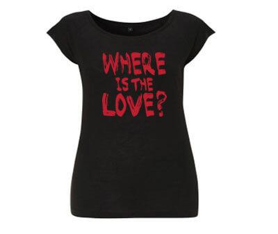 Where is the Love? Bamboe Dames T-Shirt - Zwart from ChillFish Design