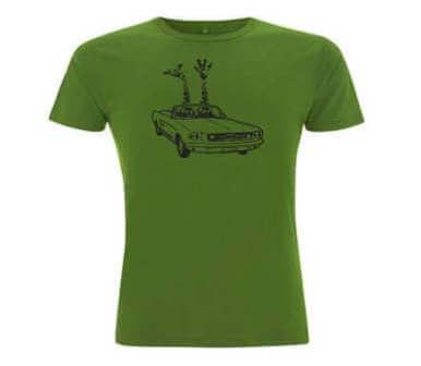 Giraffes in Cabrio Duurzaam Bamboe Heren T-shirt - Antraciet Grijs from ChillFish Design