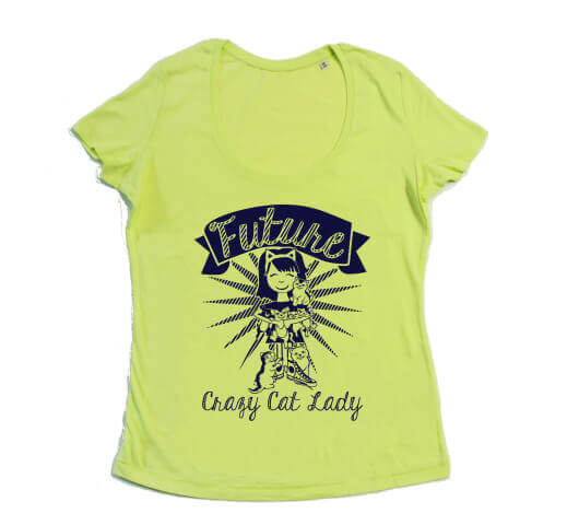 Future Crazy Cat Lady Dames T-shirt - Lime Groen from ChillFish Design