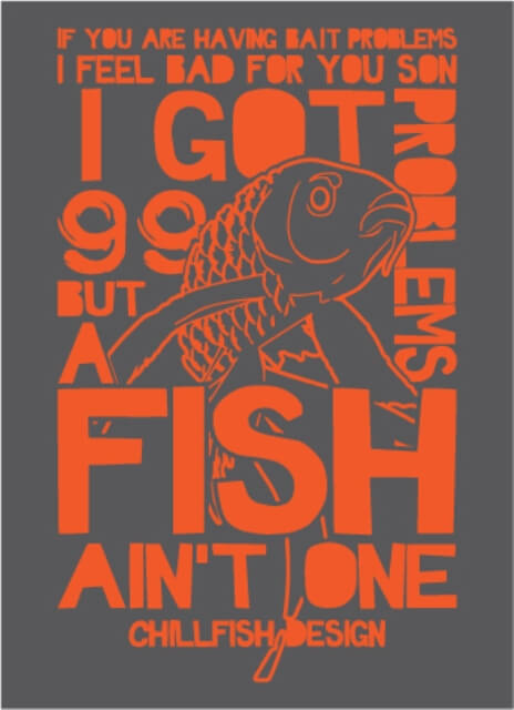 99 Fish Problems Heren T-shirt - Antraciet Grijs from ChillFish Design