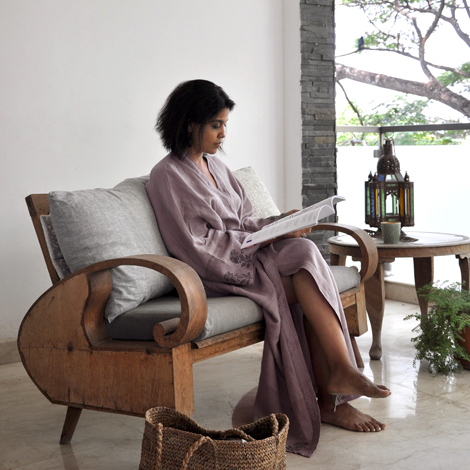 hand block printed linen kantha robe from Common Texture