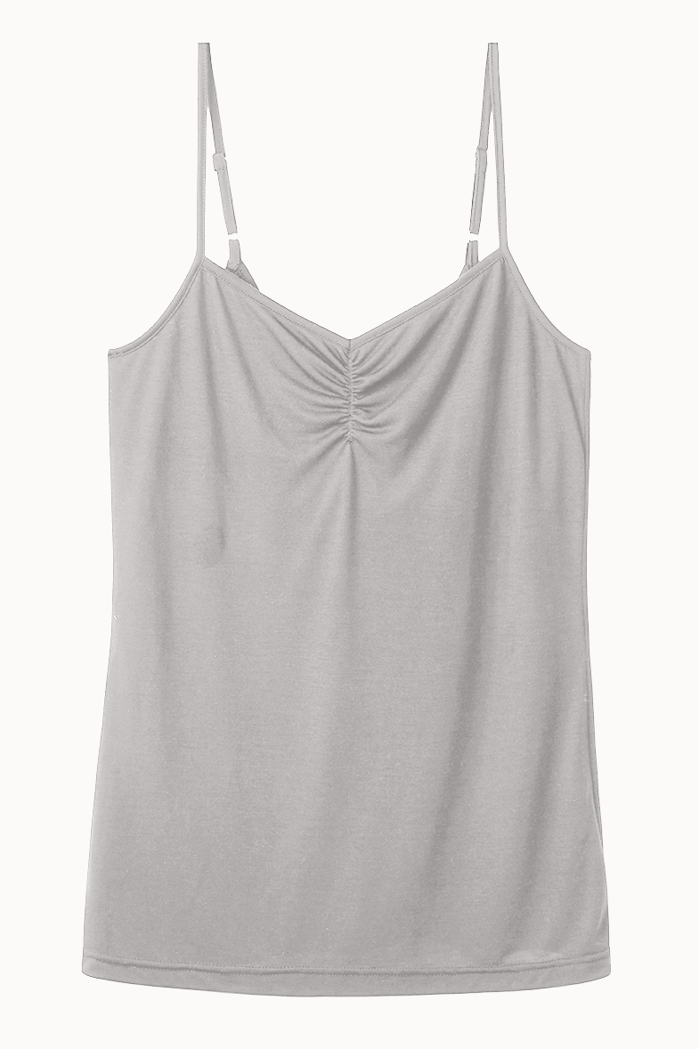 Strappy Top with Built-In Bra Shelf in Fawn from Cucumber Clothing