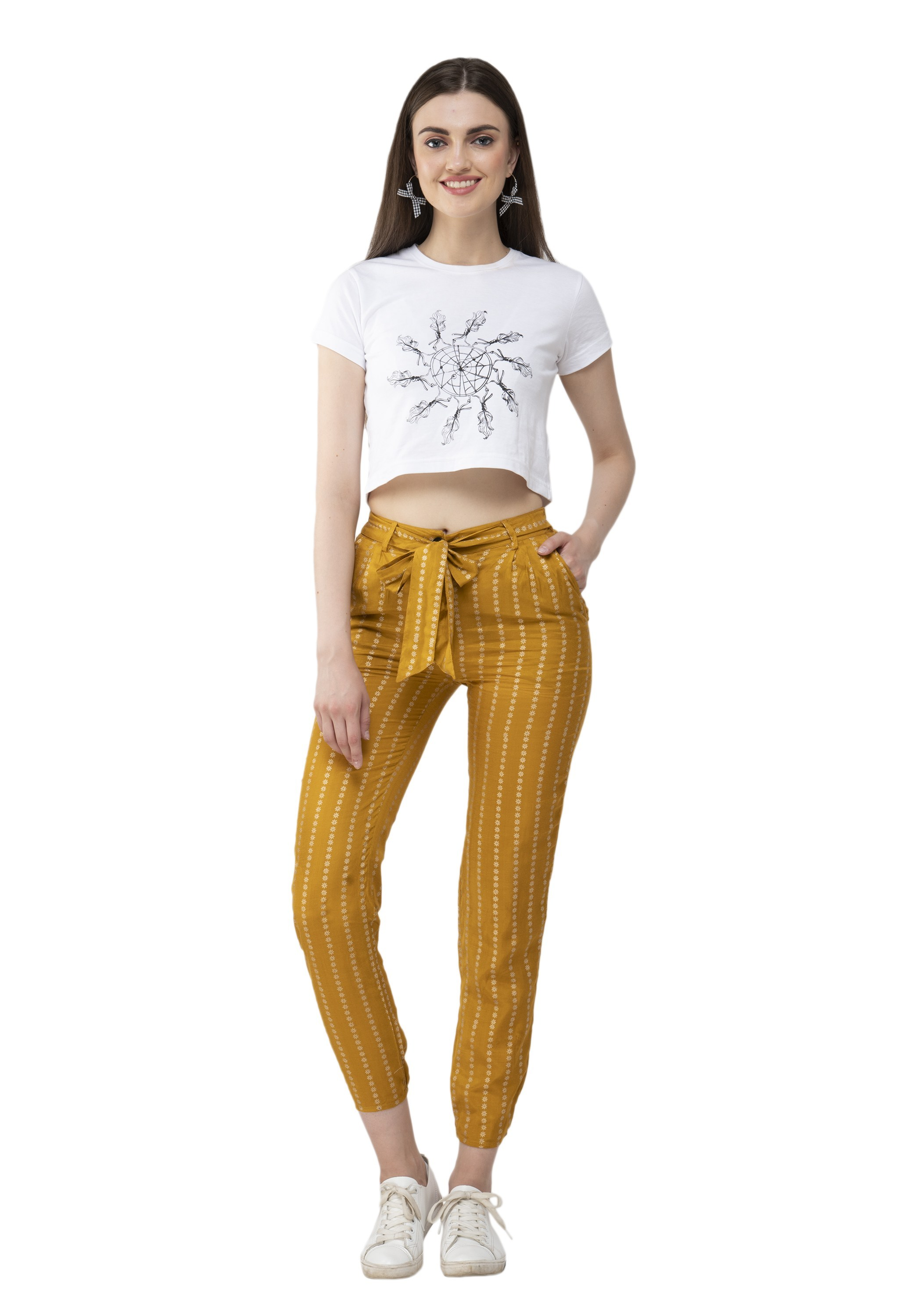 Casual Mustard Regular Fit Trousers from Grab Your Garb