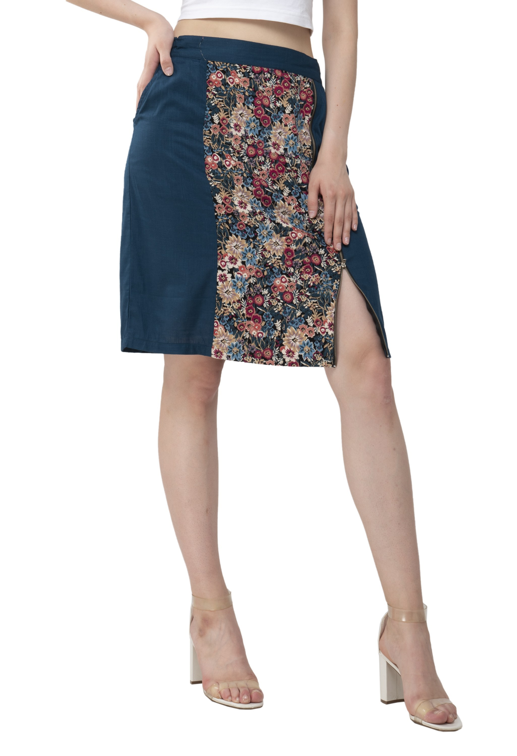 Teal and floral adjustable skirt from Grab Your Garb