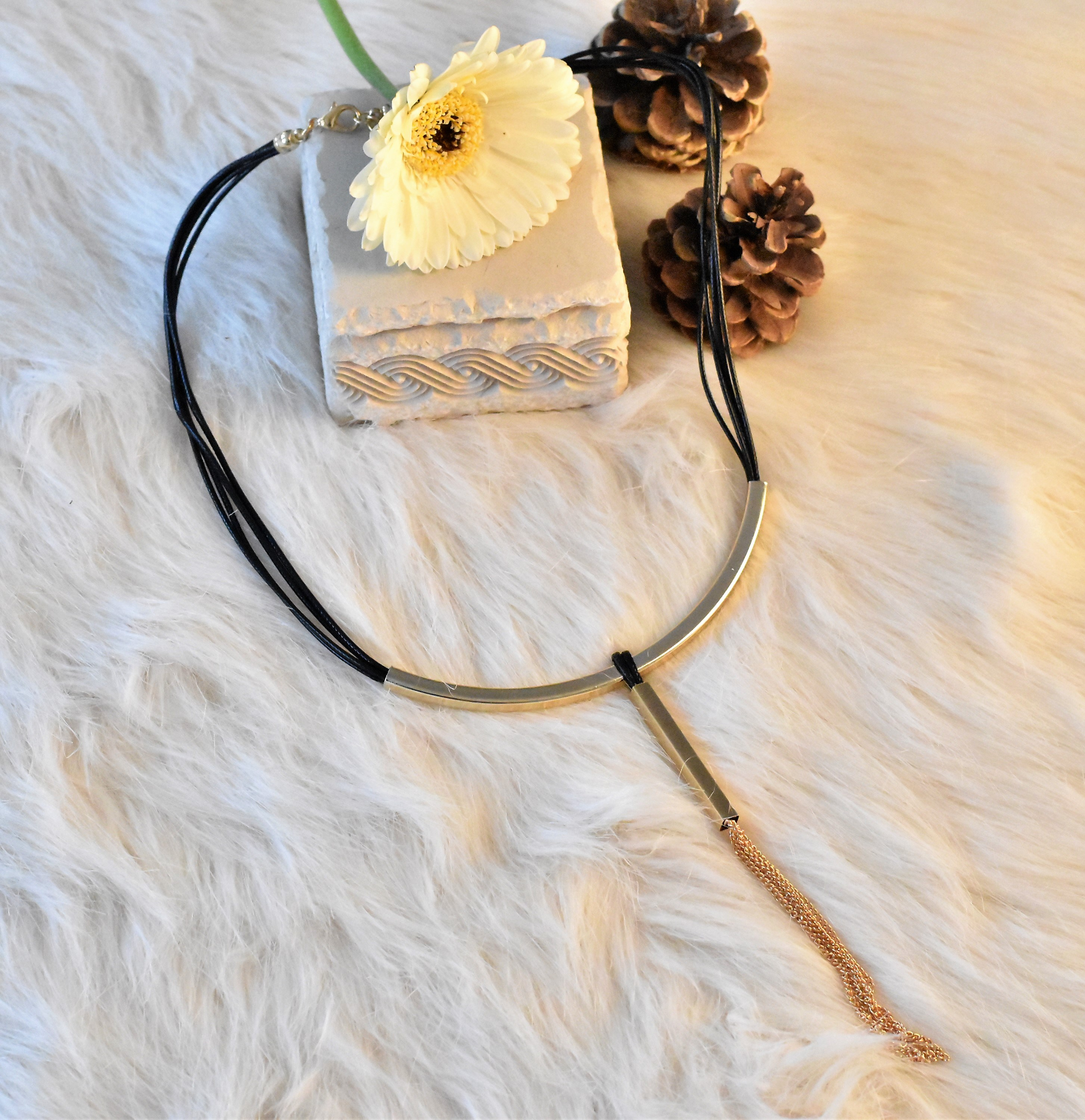Black & Gold Tasseled Choker from Grab Your Garb