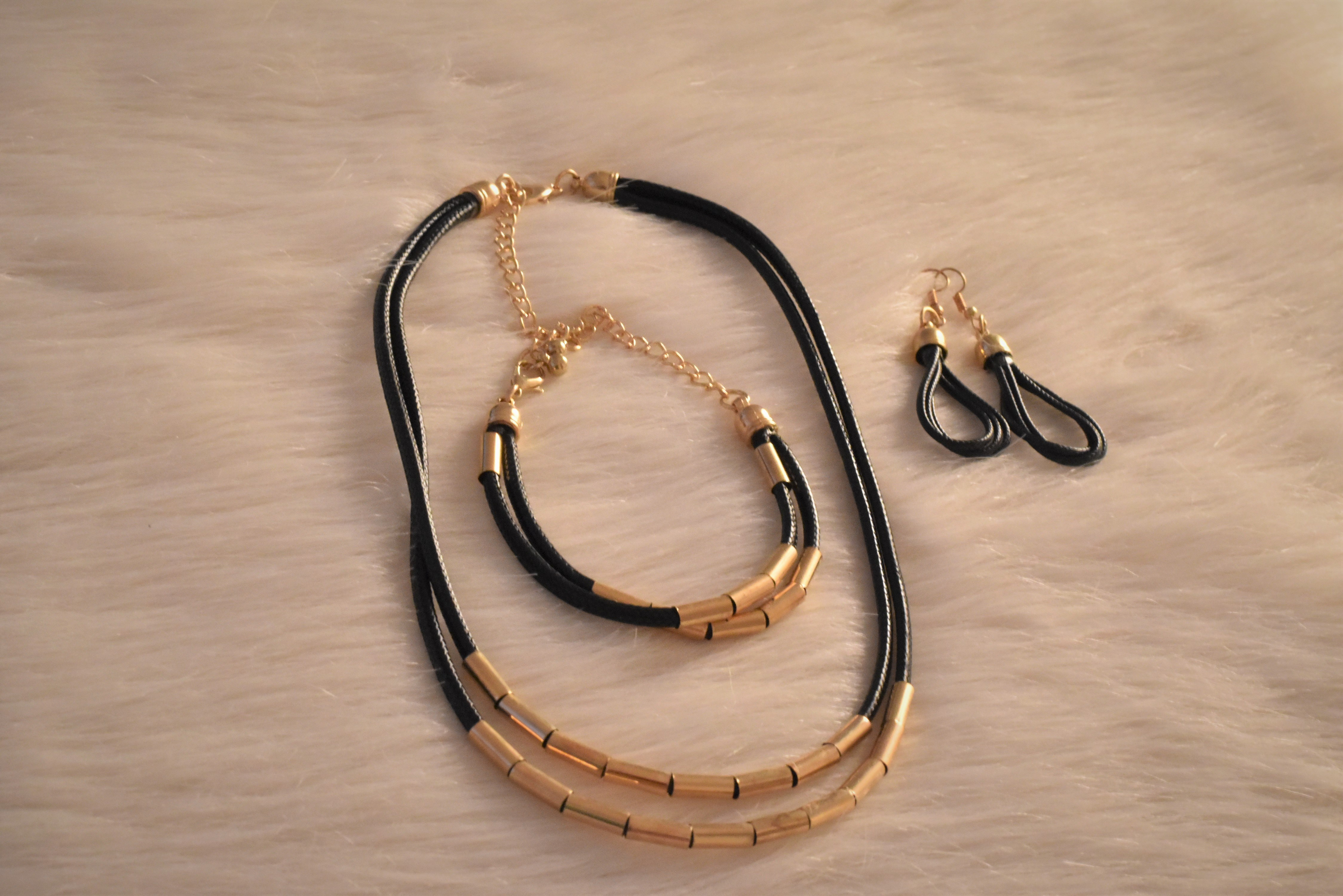 Beaded Layered Necklace with matching Ear Rings & Bracelet from Grab Your Garb