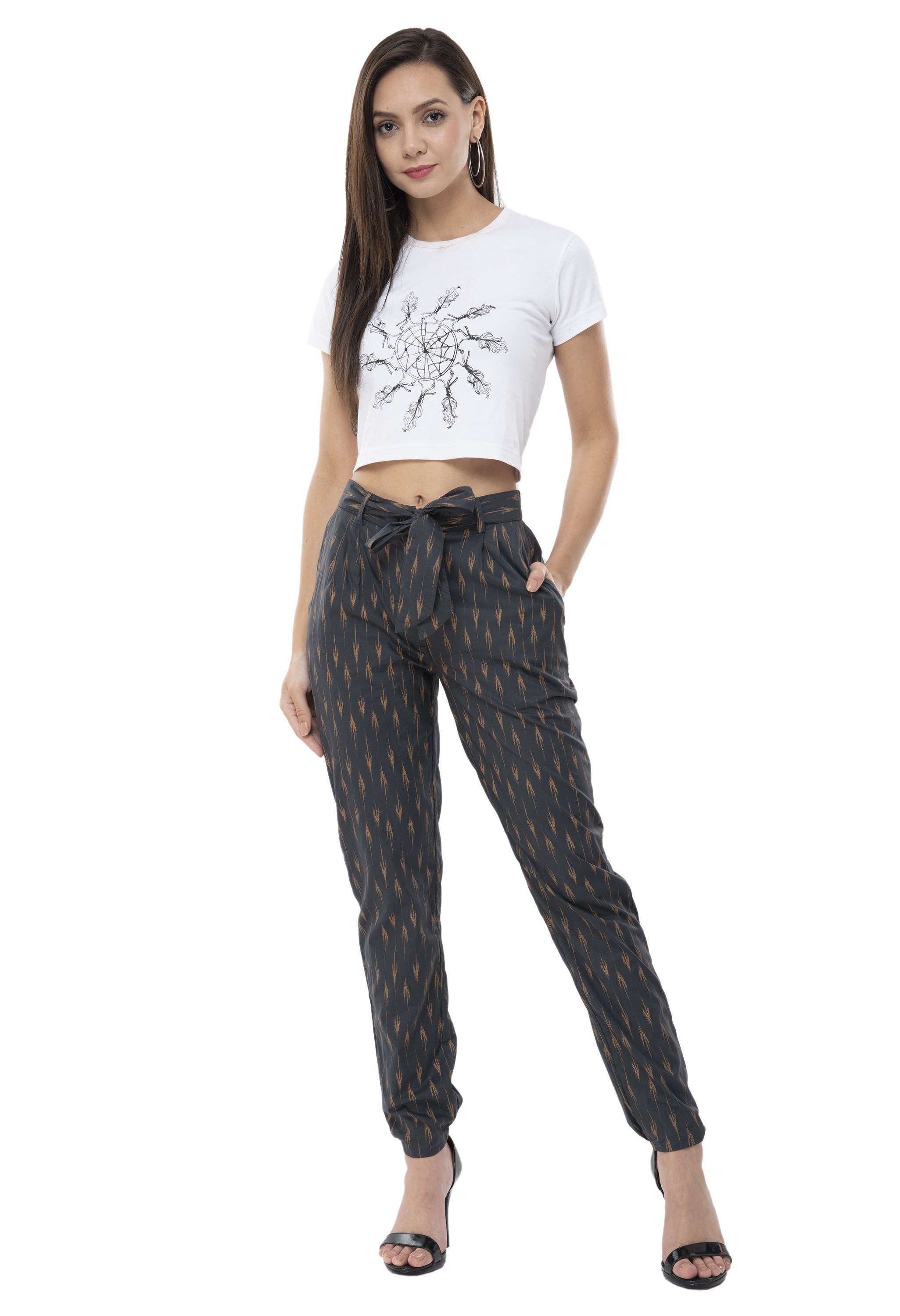 Printed Grey Regular Fit Trousers from Grab Your Garb