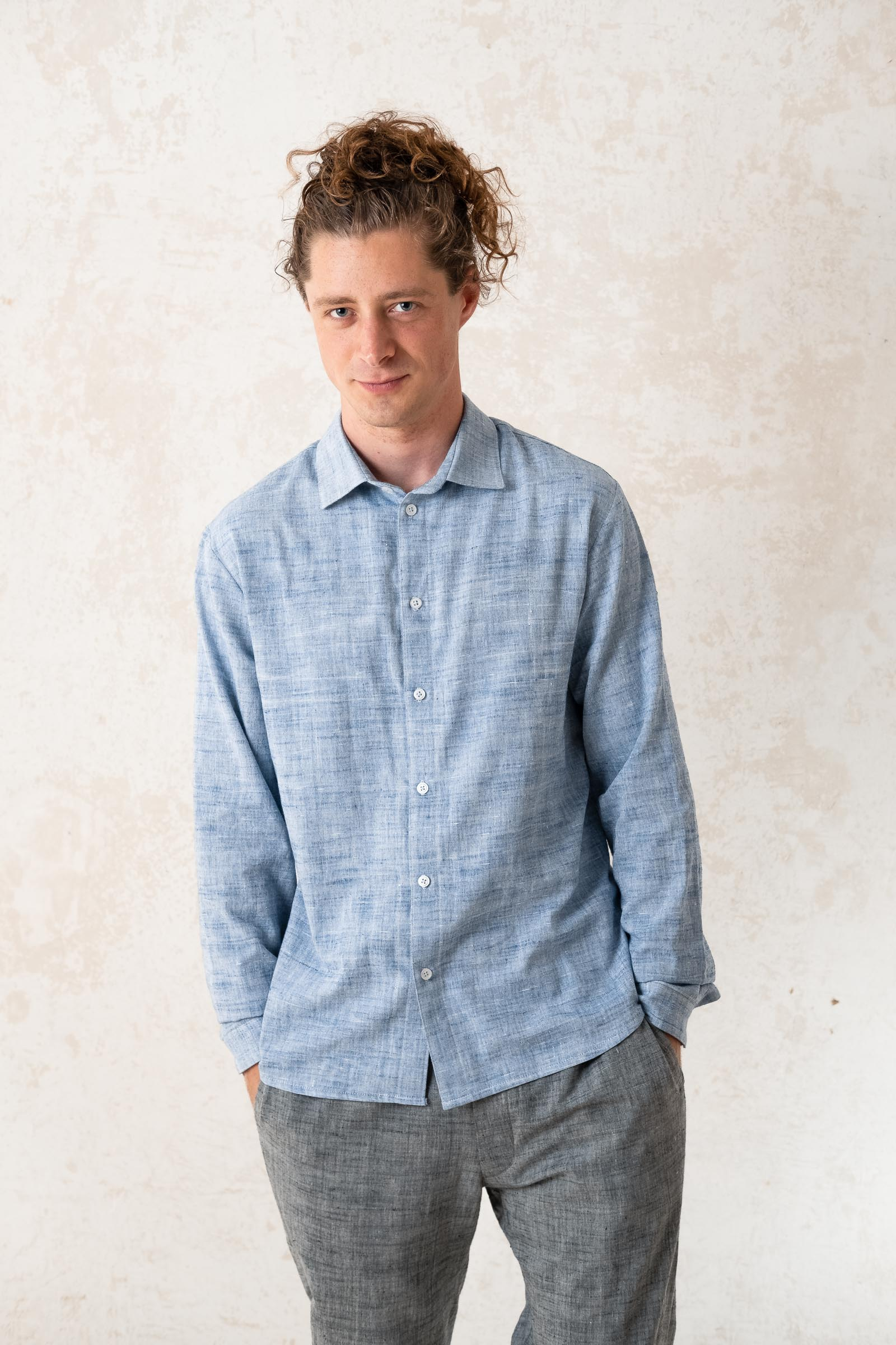 Shirt Hilu Slim-Fit Lightblue from Jyoti - Fair Works