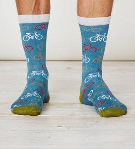Bamboe fiets sokken dusty blue from Lotika