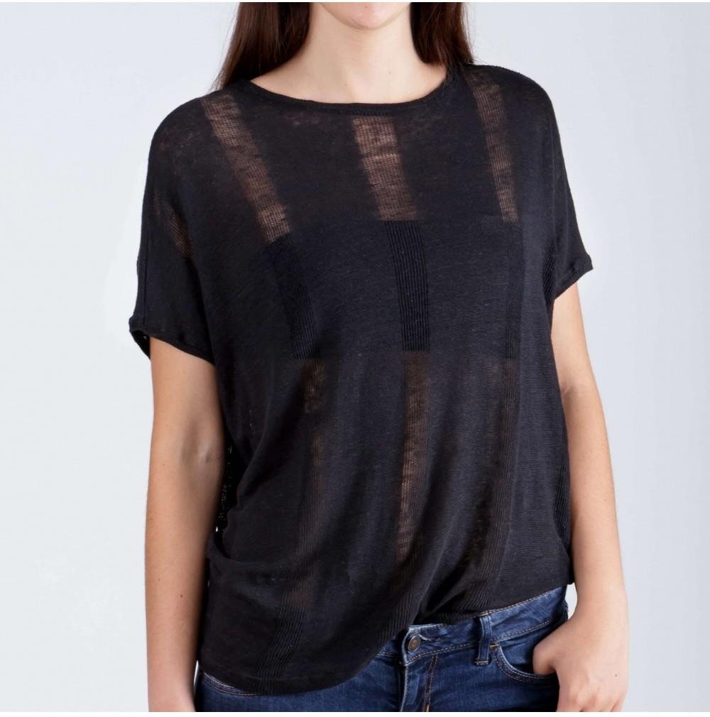 Lem Zwart T-shirt Linnen from Mae Sue