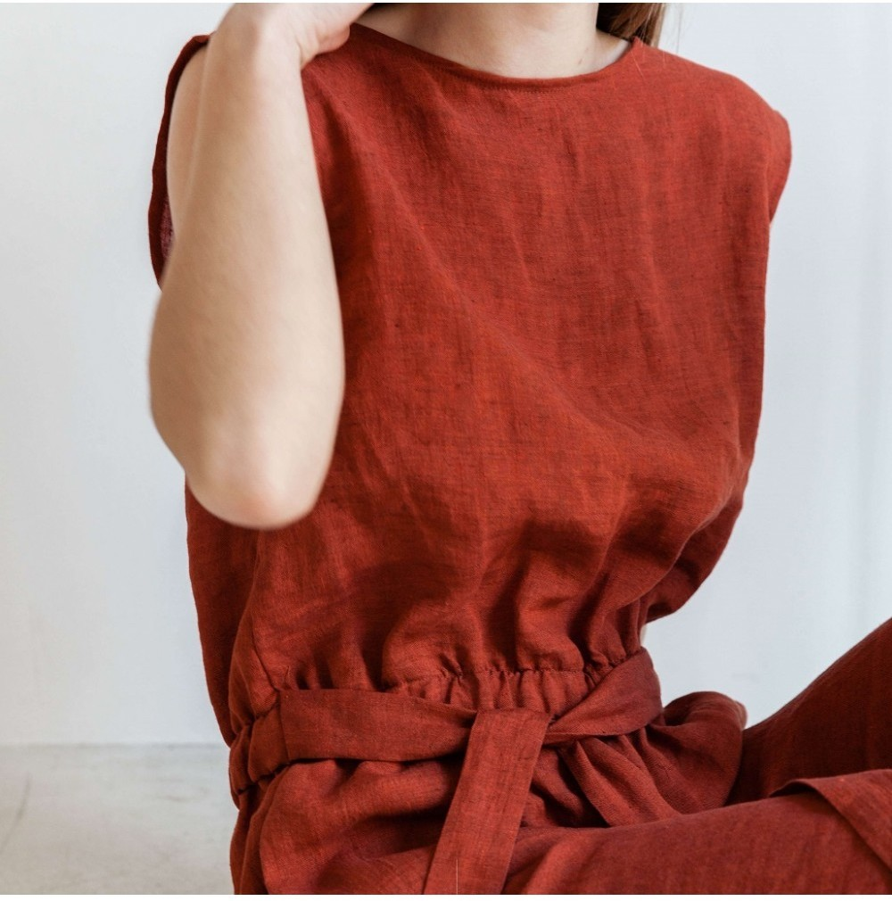 Linnen Jumpsuit Rood from Mae Sue