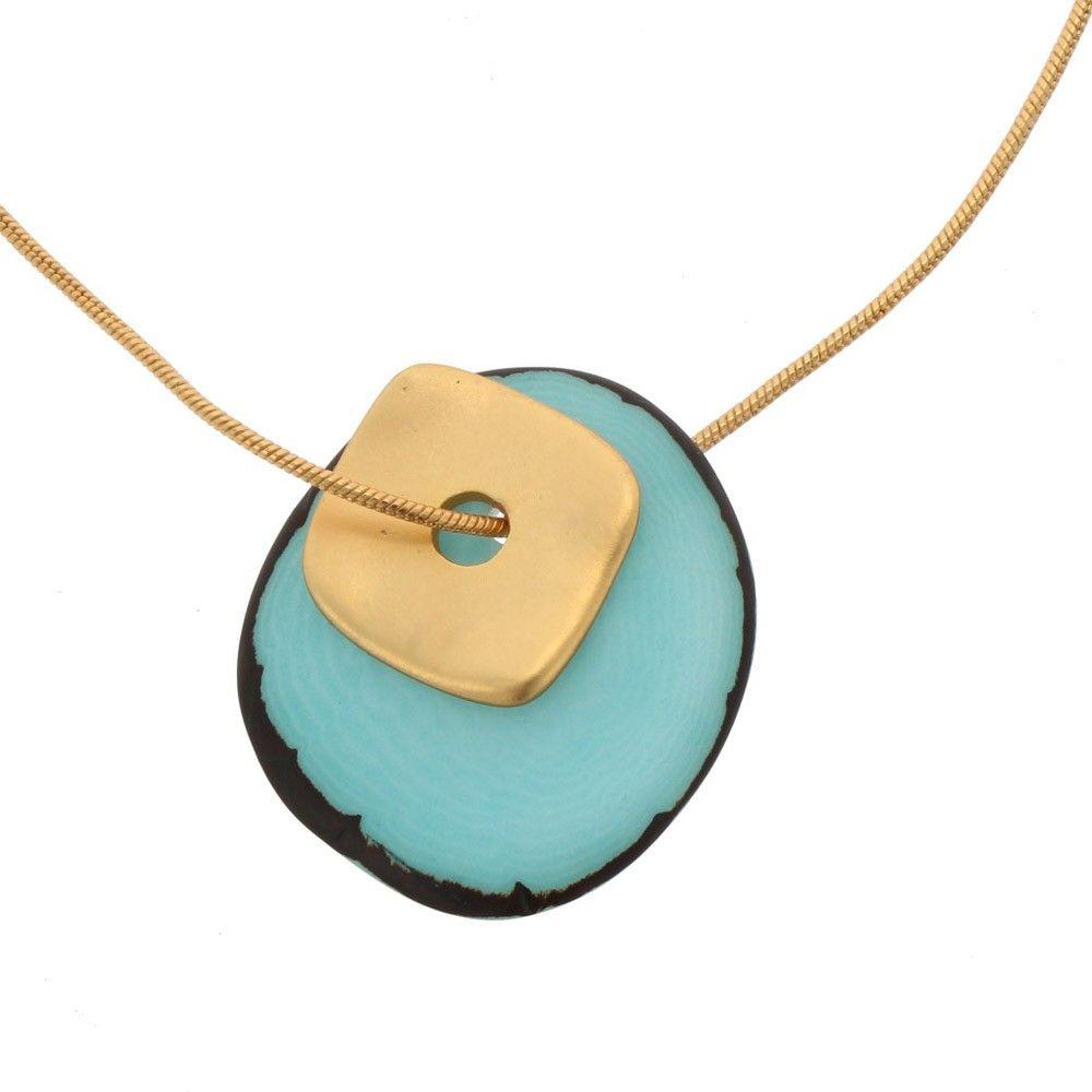 Sofia ketting met hanger van tagua en goudkleurig vierkantje - aqua blauw from MoreThanHip