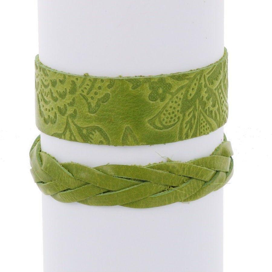 Flor & Trenza: set hippe armbanden - lichtgroen from MoreThanHip
