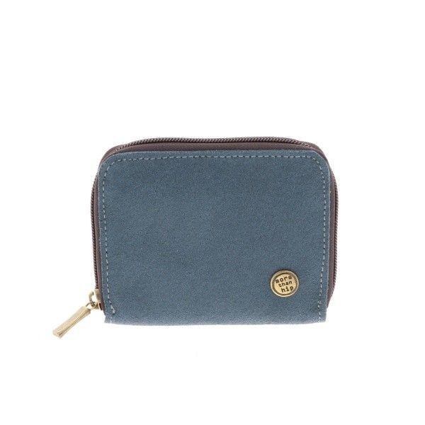 Billy - handige portemonnee van ecoleer met rits - grijsblauw from MoreThanHip