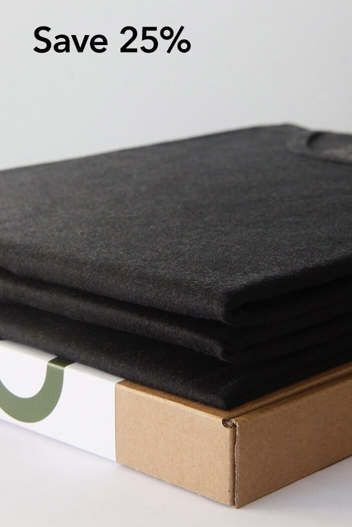 3-pack luxe bamboo t-shirts black from Nooboo