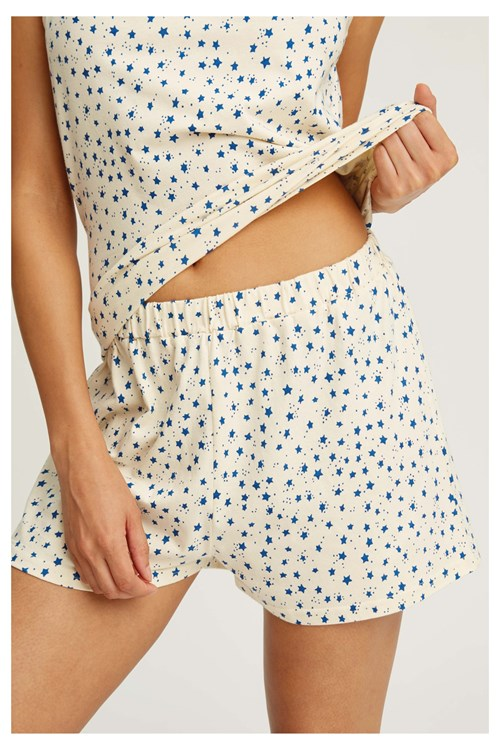 Stars Pyjama Shorts in Cream from People Tree
