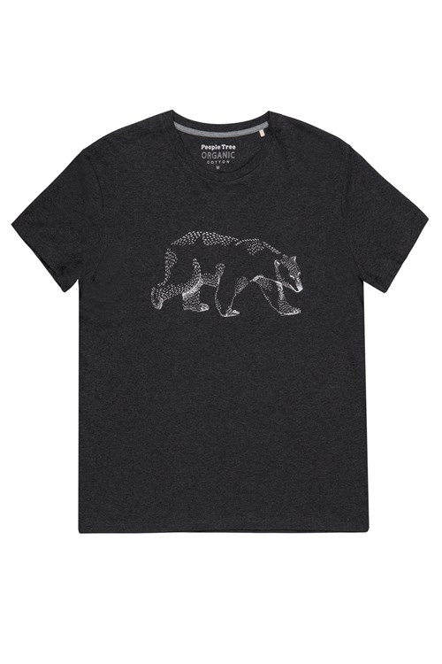 Bear Print Tee in Grey Melange from People Tree