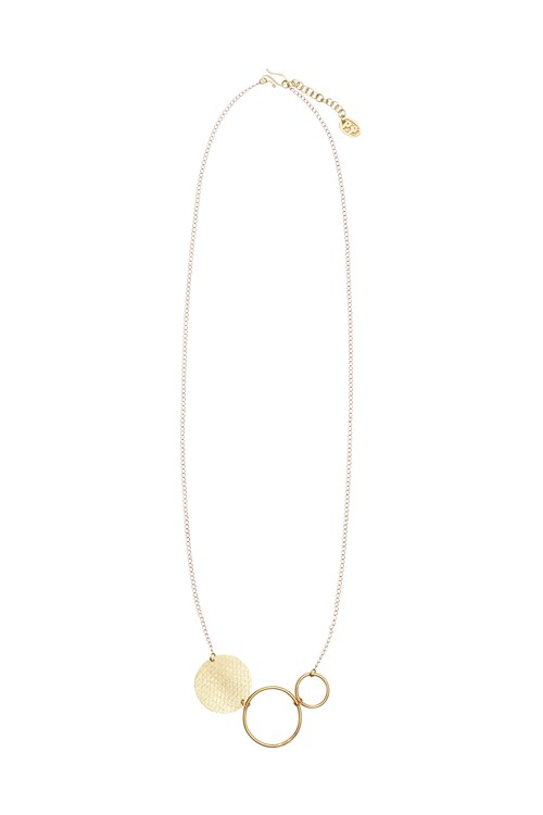 Circle and Disc Necklace in Brass from People Tree