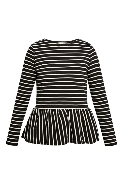 Ishana Stripe top in Black and Ecru Cream from People Tree