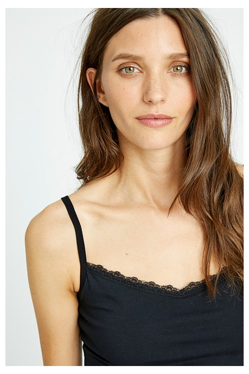 Black Hidden Support Lace Trim Camisole from People Tree
