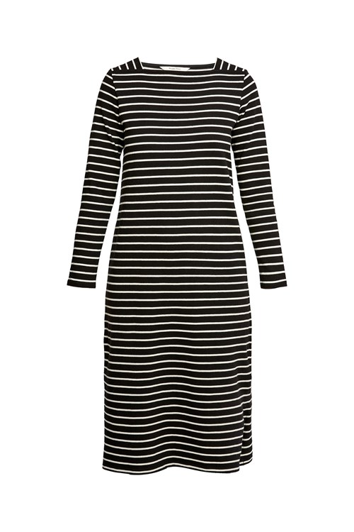 Lucille Stripe Dress in Black and Ecru Cream from People Tree