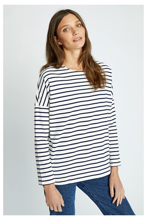 Nerissa Stripe Top Navy and White from People Tree