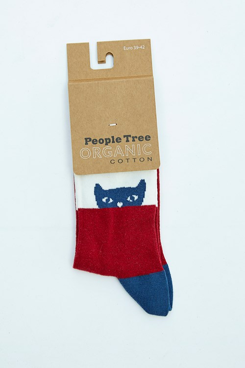 Cat Socks in Blue and Red 39-42 from People Tree