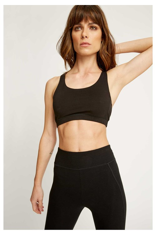 Yoga Cross Back Top in Black from People Tree