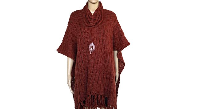 Wool poncho shawl bordeaux from Quetzal Artisan