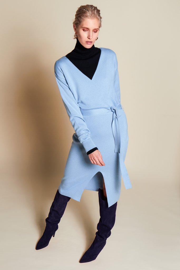BEING ICE BLUE KNIT DRESS from Rhumaa