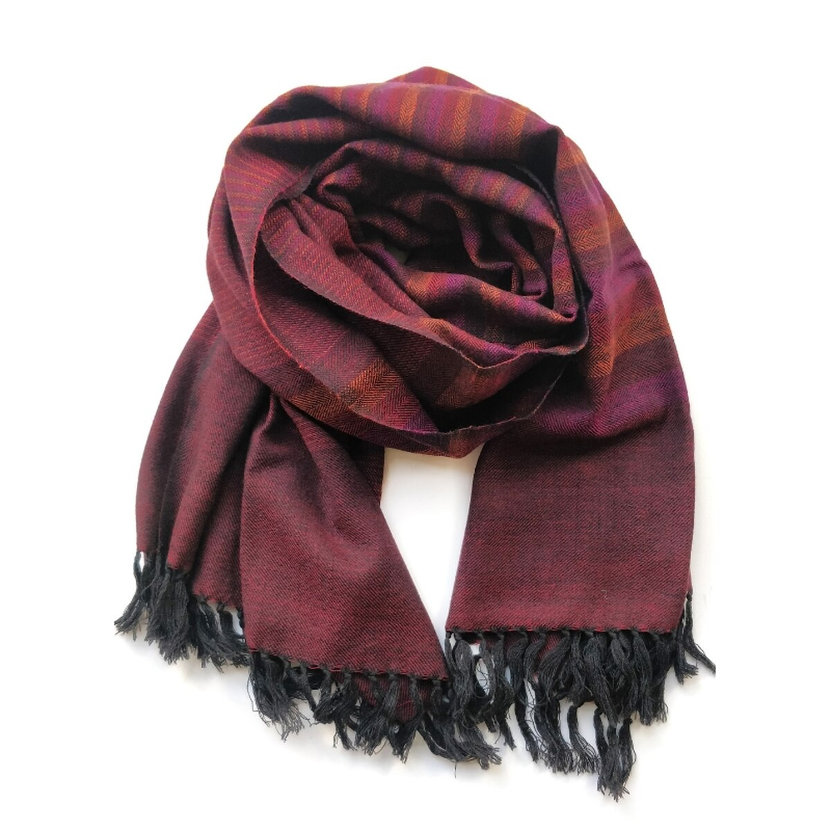 Burgundy Stripe Wool Scarf from Siyana London