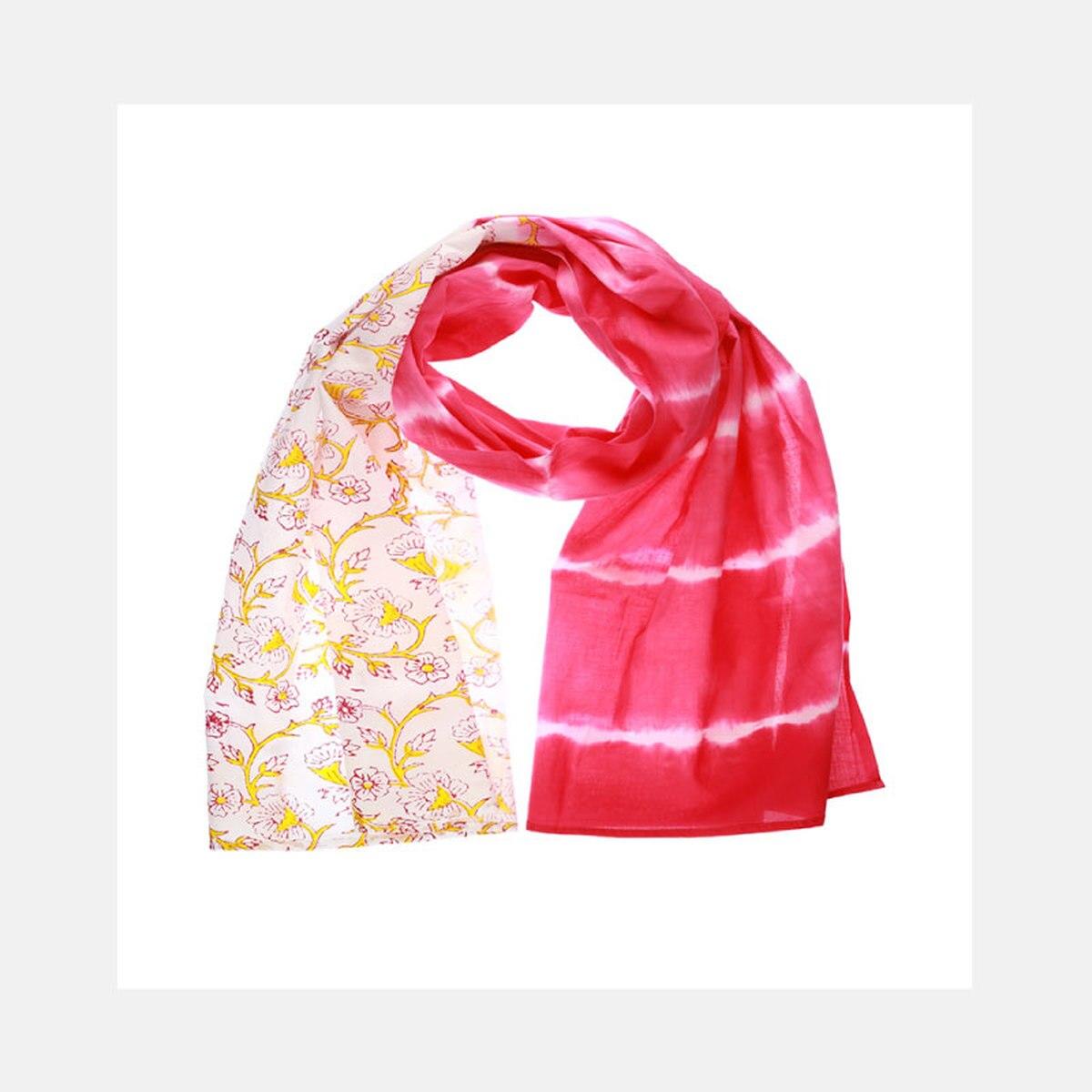 Hand Block - Pink Scarf from Siyana London