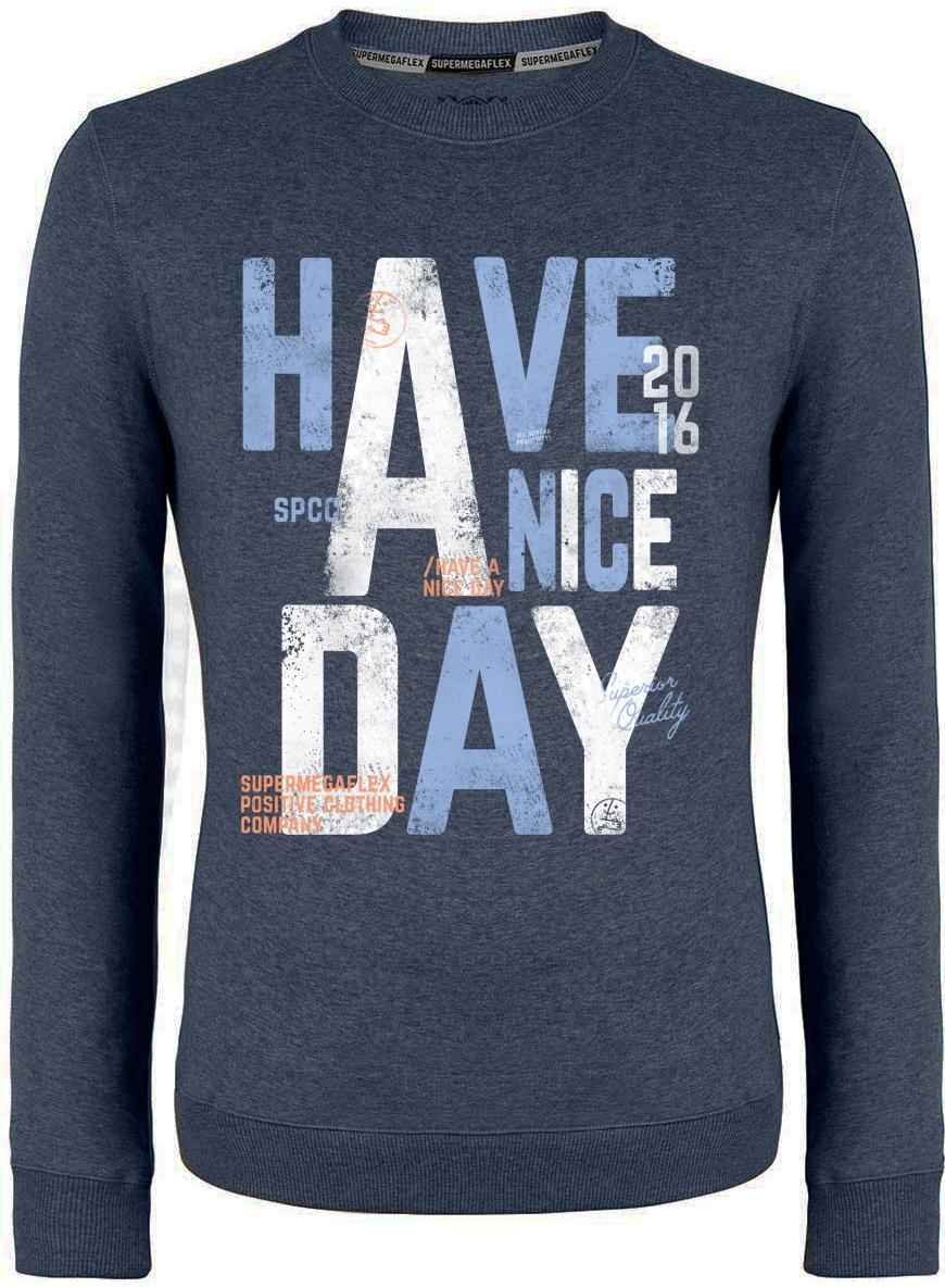 Organic sweater - Have a nice day - blue from Supermegaflex
