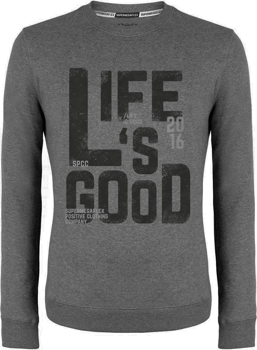Organic sweater - Life's good - gray from Supermegaflex