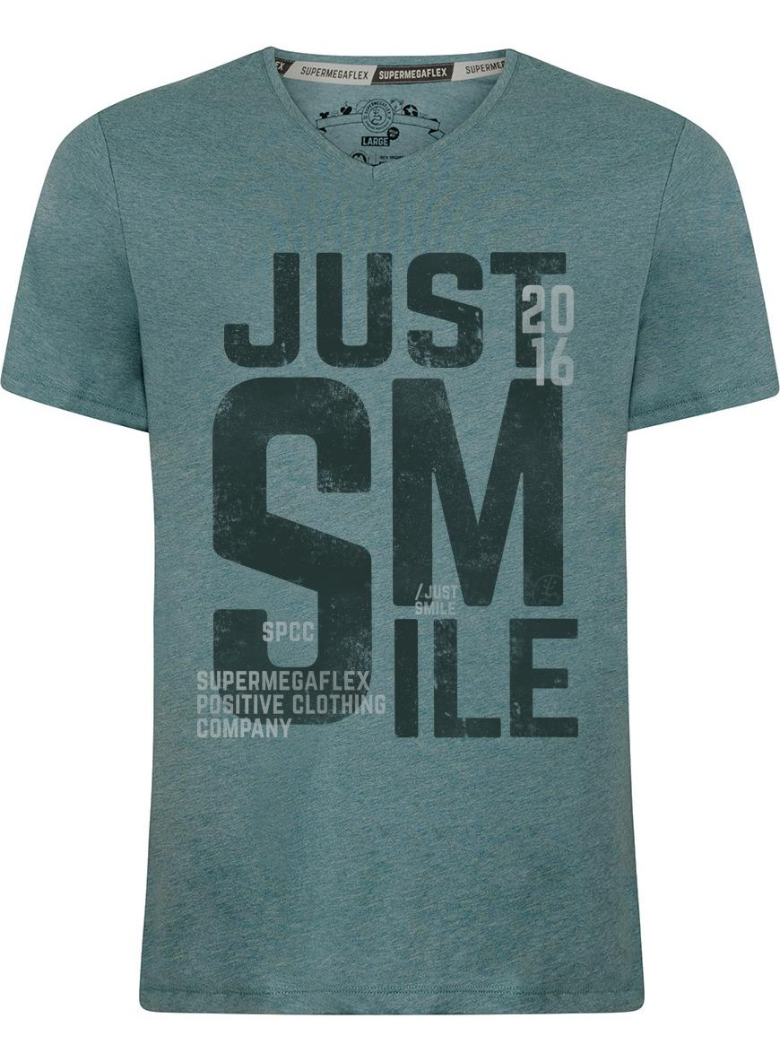 Organic tshirt - Just smile - green from Supermegaflex