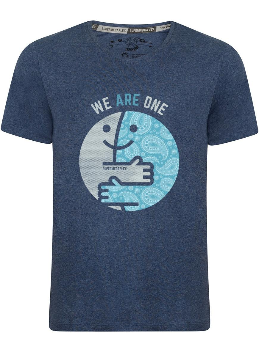 Organic tshirt - We are one - blue from Supermegaflex